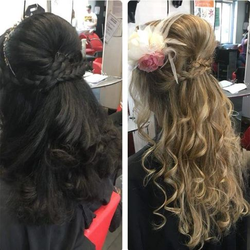 Split image of hair styles